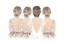 Bride With Bridesmaids In A Line. Hand Drawn Illustration