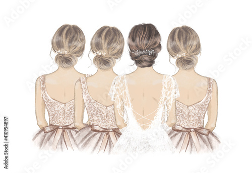 Bride with Bridesmaids in a line. Hand drawn illustration © maddyz