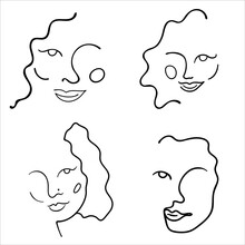 Abstract Line Art Face Painting Contemporary Portrait