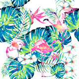 pink flamingos ,pattern,palm leaves, watercolor on a white