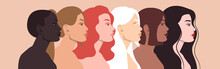 Women Of Different Nationalities And Cultures: African, European, Latin American, Arab, Asian. Women's Friendship. The Concept Of Gender Equality.