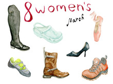 Watercolor Illustration Set Of Different, Coloful Women's Work Shoes Drawn By Hand On A White Background. Shoes For Woman Of Different Professions For The International Women's Day.