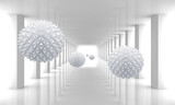 Fototapeta Przestrzenne - 3d picture spiky balls in the tunnel