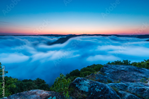Fototapeta Dramatic spring landscapes in New River Gorge National Park in West Virginia,USA