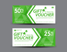 St. Patrick's Day Gift Voucher Card, Green Gift Voucher Template, Coupon Design, Certificate, Ticket Template, Discount Card, Sale Banner Design, Voucher Design,  Vector Illustration