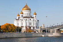 View Of The Cathedral Of Christ The Saviour, The Moskva River And The Patriarchal Bridge In Moscow City, Russia
