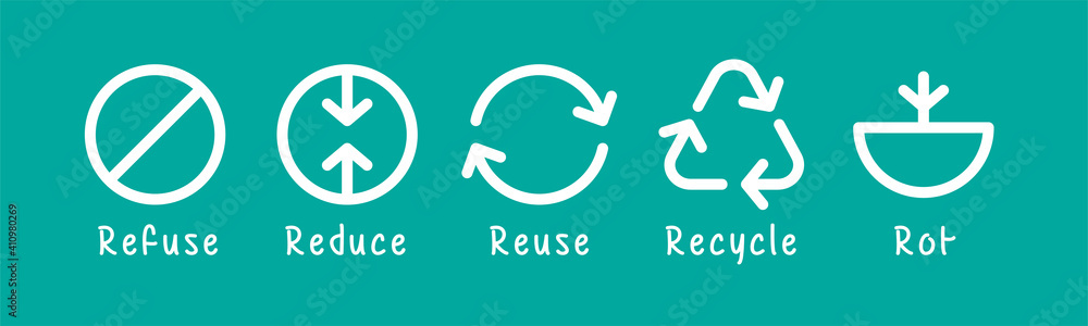 Fototapeta icon refuse waste, garbage reduce, reuse garbage, recycle and rot waste for symbol zero waste concept