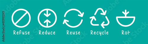Obraz icon refuse waste, garbage reduce, reuse garbage, recycle and rot waste for symbol zero waste concept - fototapety do salonu