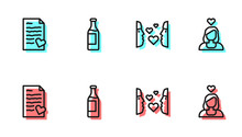 Set Line Love At First Sight, Envelope With Valentine Heart, Wine Bottle And Couple Love Icon. Vector.