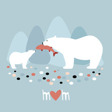 Polar Bear With A Bear Cub Mother's Day Card Stock Illustration. Arctic, Abstract, Animal, Animal Wildlife, Animals In The Wild