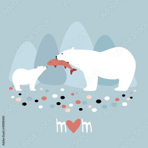 Obraz na plátně Polar bear with a bear cub Mother's Day card stock illustration