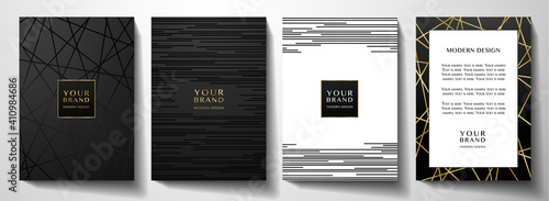 Obraz Modern black cover design set. Luxury creative line pattern in premium colors: black, gold and white. Formal vector layout useful for notebook cover, business poster, brochure template - fototapety do salonu