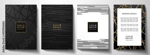 Stampa su Tela Modern black cover design set