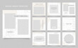 social media template banner blog fashion sale promotion. fully editable instagram and facebook square post frame puzzle organic sale poster. grey white brown floral vector background