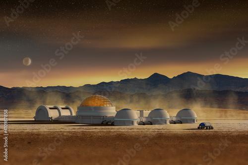 Canvas Futuristic base station in a space desert landscape, 3d illustration