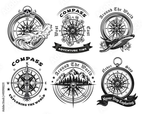 Compass tattoo templates set. Monochrome design marine elements with sea waves, whale, mountain landscape and text. Adventure, travel, navigation concept for emblems and symbols design