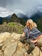 Full Length Of Woman Looking At Machu Picchu