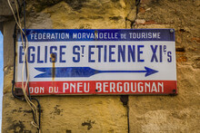 Vintage Sign Indicating The St Etienne Church, An 11th Century Romanesque Church In The Historic Center Of Nevers, Located In Burgundy, France