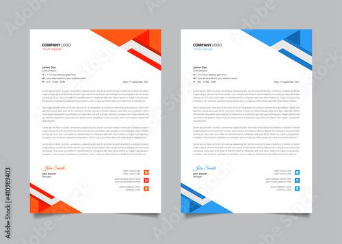 Fototapeta Red and blue creative modern business letterhead template set obraz