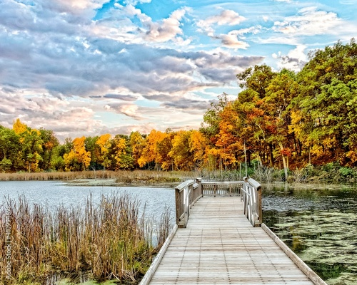 Canvas Print Dock Over the Lake in Autumn