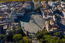 Aerial View Of An Empty Piazza Del Popolo, Municipio I, Rome, Italy.