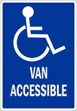 Van Accessible Handicap Parking Sign. Traffic Signs And Symbols.