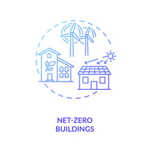 Net-zero Buildings Concept Icon. CPS Usage Idea Thin Line Illustration. Removing Human-produced Carbon Dioxide. Reducing Emissions. Zero-energy Building. Vector Isolated Outline RGB Color Drawing