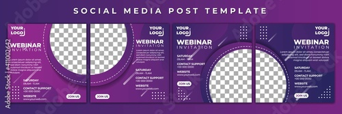 Obraz Set of Social Media template vector illustration. Webinar invitation with purple color design. Good template for online advertising design. - fototapety do salonu