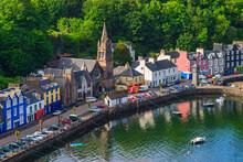 High Angle View At Tobermory Village On Scotland Coast