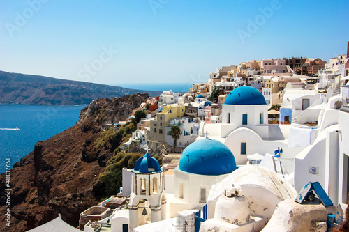 Canvas View Of The Beautiful Blue Domes Of Santorini