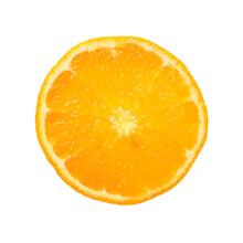 Close Up Round Cut Slice Of Orange Over White
