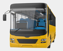 City Bus Isolated On Grey Background. 3d Rendering - Illustration