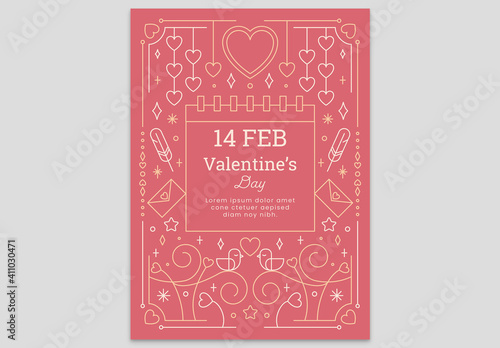 Fototapeta Pink Valentine's Day Card Flyer with Hearts Envelope Love Birds Feather and Calendar obraz