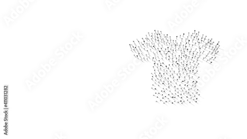 Foto 3d rendering of nails in shape of symbol of t-shirt with shadows isolated on whi