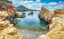 Beautiful View Of A Small Rocky Cove In The Pacific Ocean, Colorful Landscape, Sea Coast Along The Number One Road In California