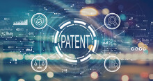 Patent Concept With Blurred City Abstract Lights Background