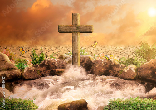 Fotografie, Obraz Cross of Jesus Christ, Son of God, in the Oasis spouting water for eternal life