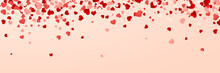 Happy Valentines Day Background, Paper Red, Pink And White Orange Hearts Confetti. Vector Illustration