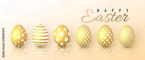 Obraz Happy Easter. Color Easter eggs on white background. Vector illustration - fototapety do salonu