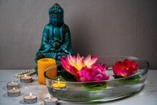 Aromatic Bowl With Candles And Flowers