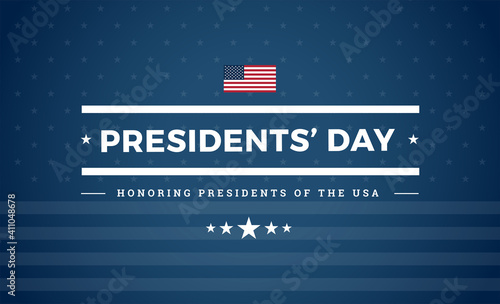 Fotografie, Obraz Presidents day USA patriotic blue background with the US flag and stars - Presid