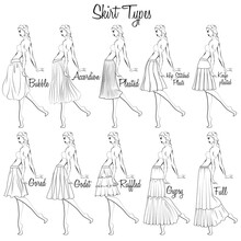 Skirt Styles. A Visual Representation Of Styles Of The Skirts On The Figure. Illustration Of The Design And Variety Of Women's Skirts. Hand-drawn Models.
