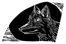 Woodcut (Xilogravura) Of Dog Or Wolf. Design Made In Wood Matrix, Replicable. The Process Is Similar To A Stamp. Regional, Used In Cordel Literature In Northeastern Brazil. Maned Wolf, Wild Dog.