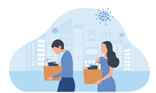 Dismissed Depressed Businessman Holding A Box. He Was Fired From Job. Unemployment, Economic Crisis, Economic Downturn, Jobless, Lay Off Concept After Covid-19 Pandemic Outbreak Vector Illustration