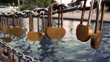 Close-up Of Love Locks On Railing In Bridge