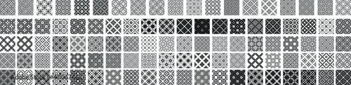 Obraz 100 Universal different geometric seamless patterns. Endless vector texture can be used for wrapping wallpaper, pattern fills, web background,surface textures. Set of monochrome ornaments - fototapety do salonu