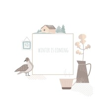 Book Cover, Postcard, Social Network Page Template. Cozy Home And Cute Things. The Winter Is Coming