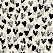 Seamless Decoration Pattern Background With Monochrome Hand Draw Heart