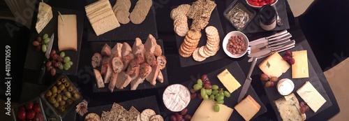Fototapeta Directly Above Shot Of Various Foods Served On Table obraz