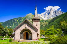 Chamonix , France - Aquille Du Midi And Les Praz